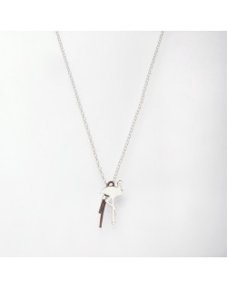 Collier argent flamand rose