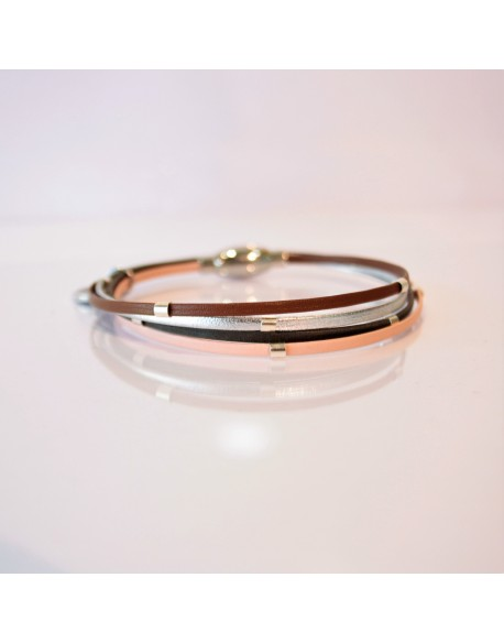 Bracelet cuir perle argent
