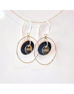 Boucles d'oreilles argent et médaille cuir