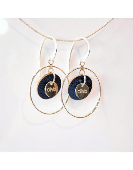 Boucle d'oreille argent et médaille cuir