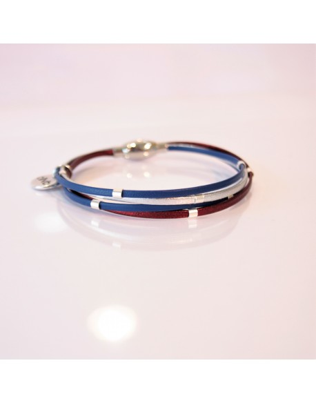 Bracelet cuir et perles argent