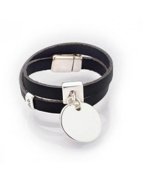 Bracelet cuir deux tours et médaille