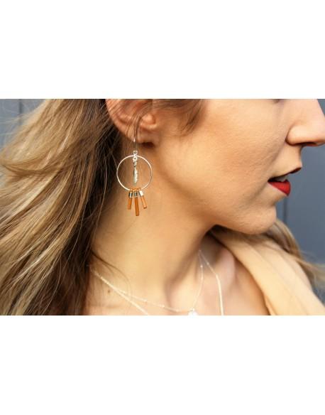 Boucles d'oreilles créoles & plumes