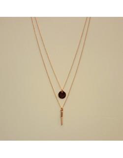 Collier double chaîne plaqué or rose