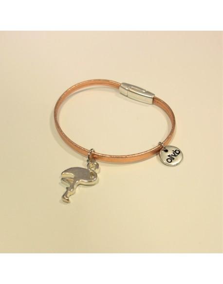 Bracelet cuir et flamant rose