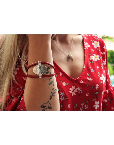 Bracelet en cuir et pièce unique