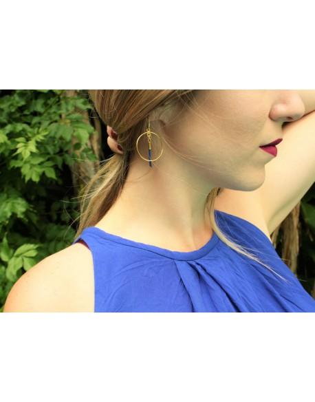 Boucles d'oreilles plaquées or cuir