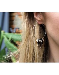 Créoles perles et brins de cuir