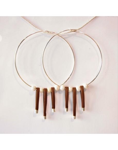 Créoles perles strass et brins de cuir
