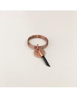 Bague anneaux or rosé et cuir