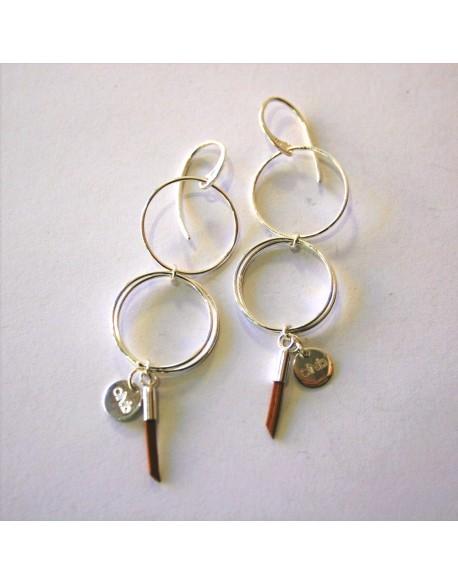 Boucles d'oreilles double anneau argent
