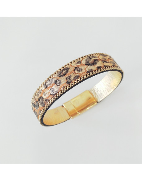 Bracelet cuir impression python doré