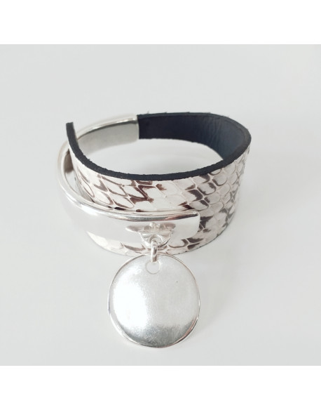 Bracelet demi jonc cuir python