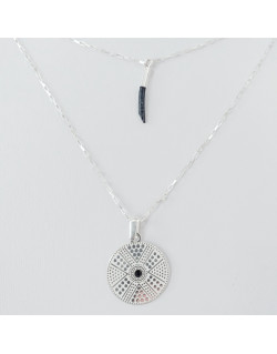 Collier double chaine avec medaille astro