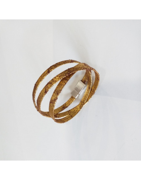 Bracelet cuir impression doré