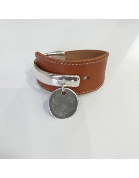 Bracelet demi jonc cuir camel
