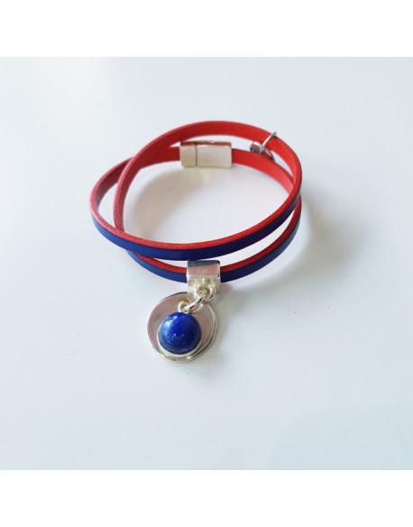 Bracelet cuir bicolore avec médaille