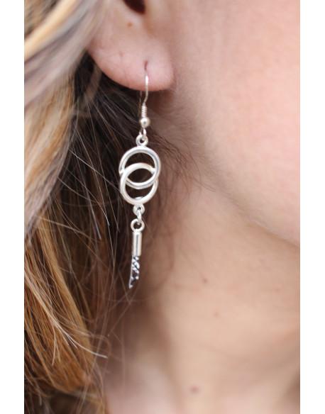 Boucle d'oreille argent avec 2 cercles