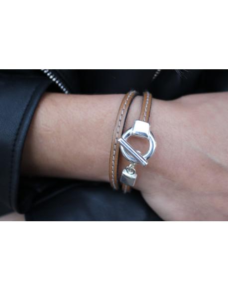 Bracelet cuir fin cousu