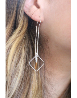 Boucles d'oreilles argent avec pendentif carré