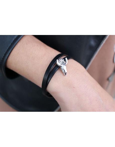 Bracelet double tour cuir et pendentif taureau