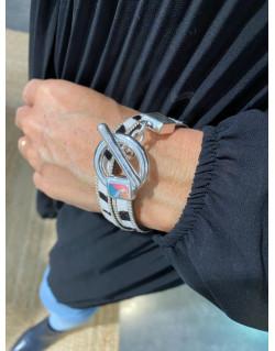 Bracelet double tour cuir zèbre