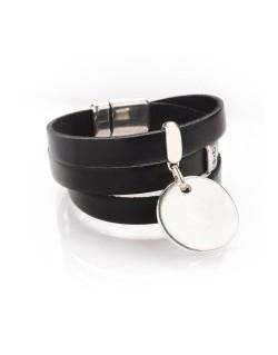 Bracelet cuir trois tours et médaille