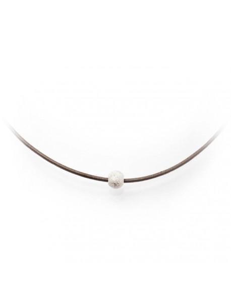 Tour de cou cuir et perle strass