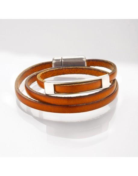 Bracelet cuir triple tour